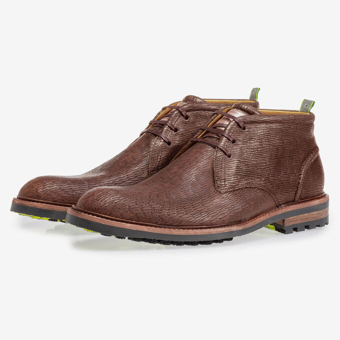 Lace boot brown with print