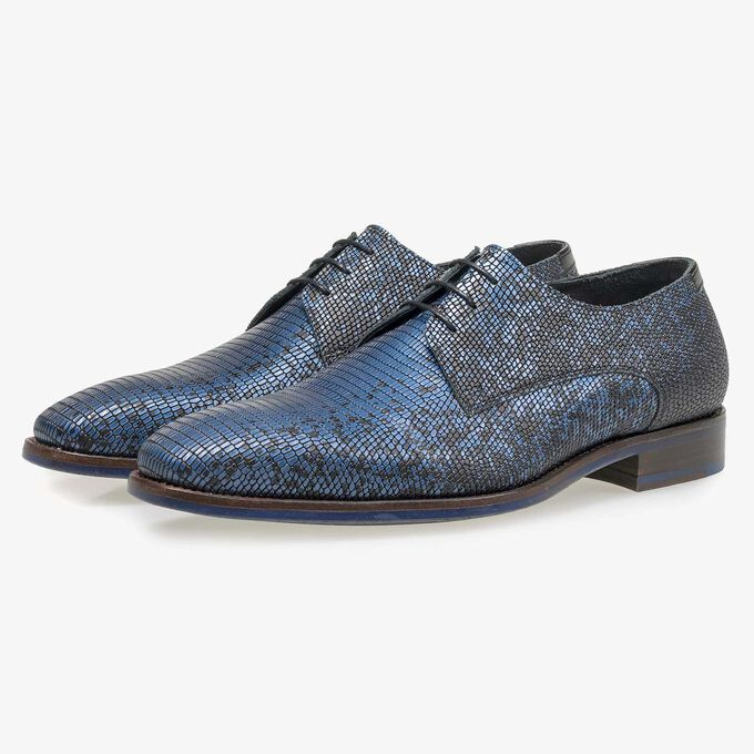 Black premium lace shoe with blue metallic print