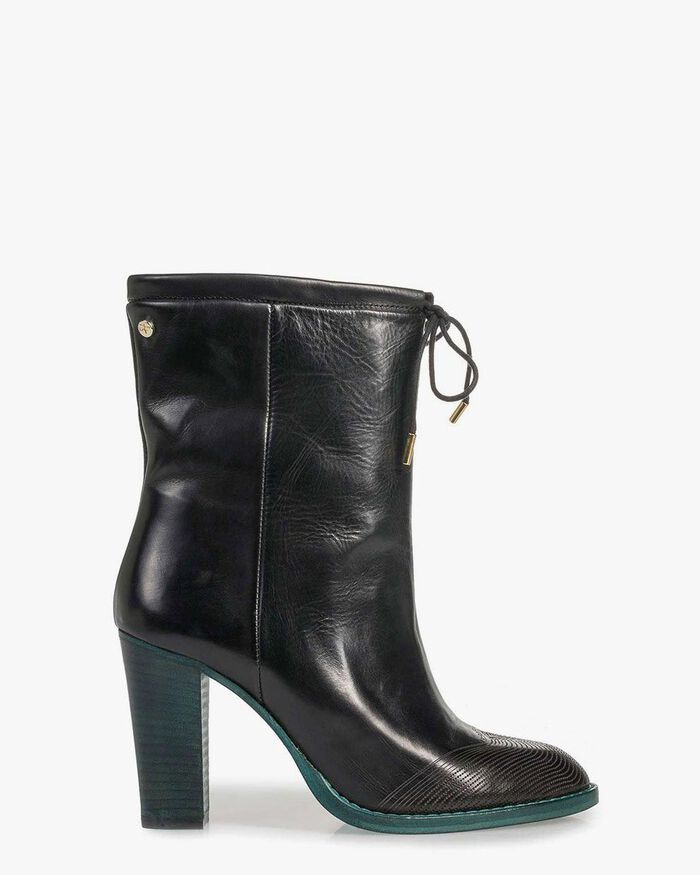 Black calf leather ankle boots