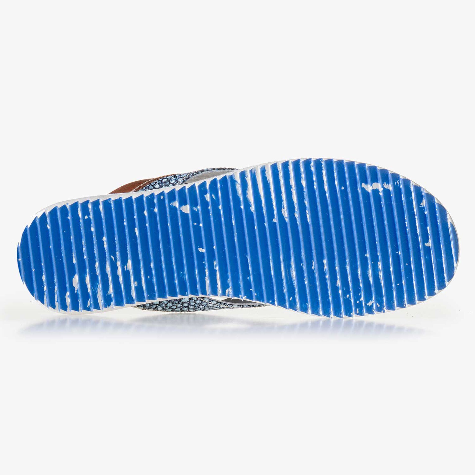 Blue, printed leather thong slipper