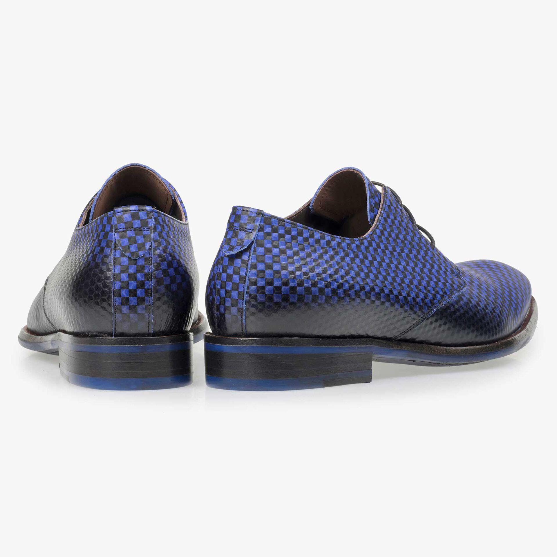 Floris van Bommel men's electric blue leather lace shoe