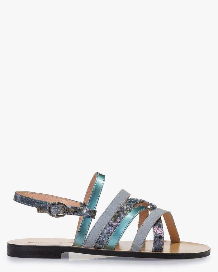 Sandale Leder mit Print blau