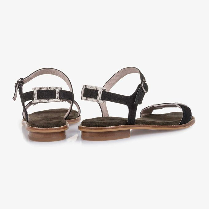 Schwarze fein strukturierte Nubukleder-Sandale