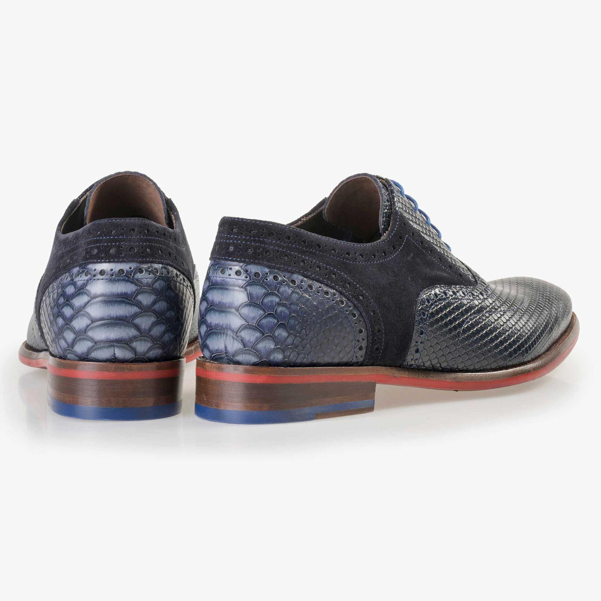 Floris van Bommel men's dark blue leather lace shoe