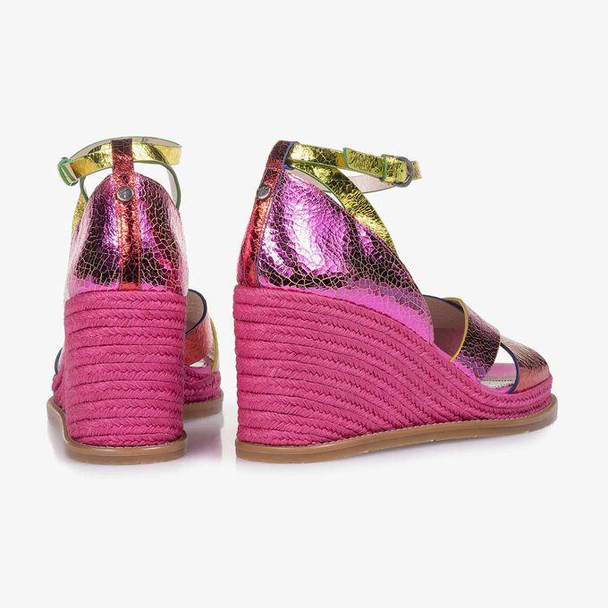 Rosa Metallic Leder-Sandale mit Craquelé-Effekt