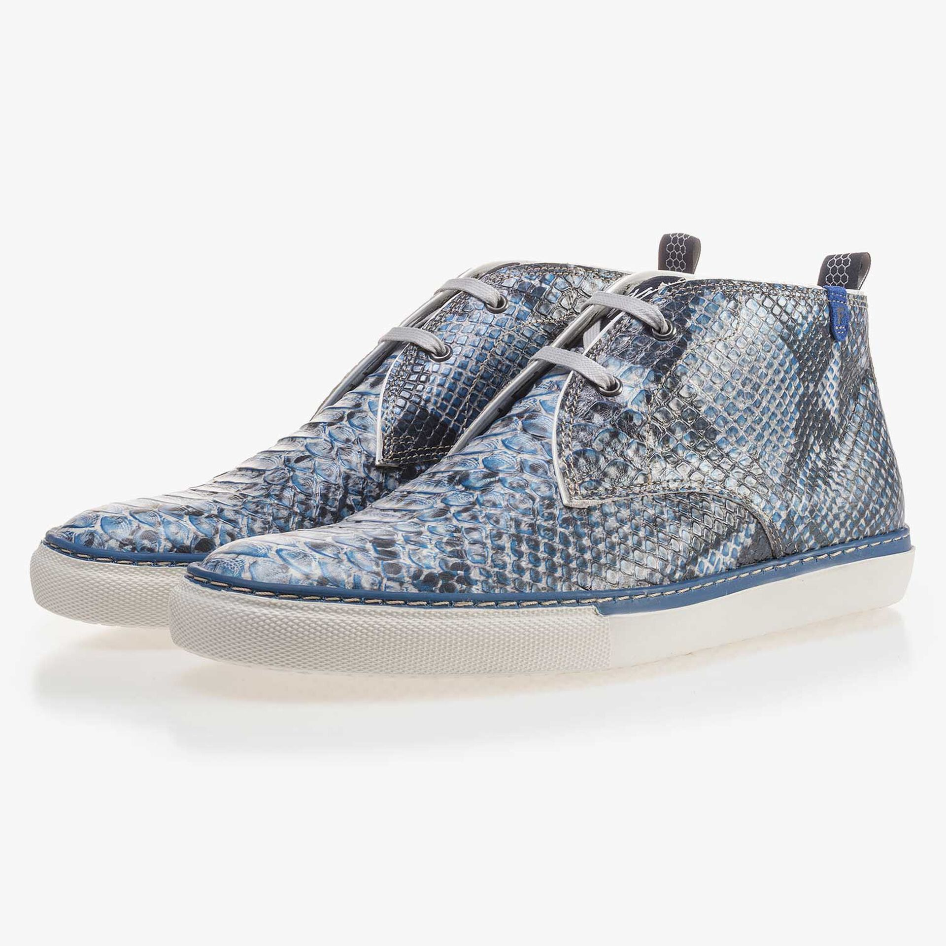 Blue calf's leather lace boot with a snake pattern
