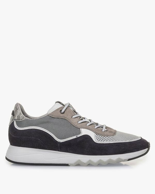Grey and black suede leather sneaker