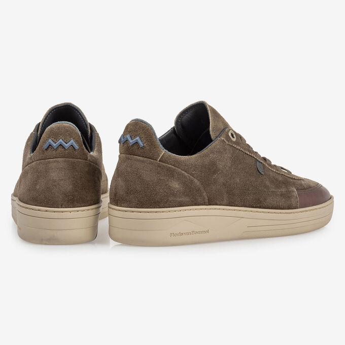 Sneaker suede leather dark green