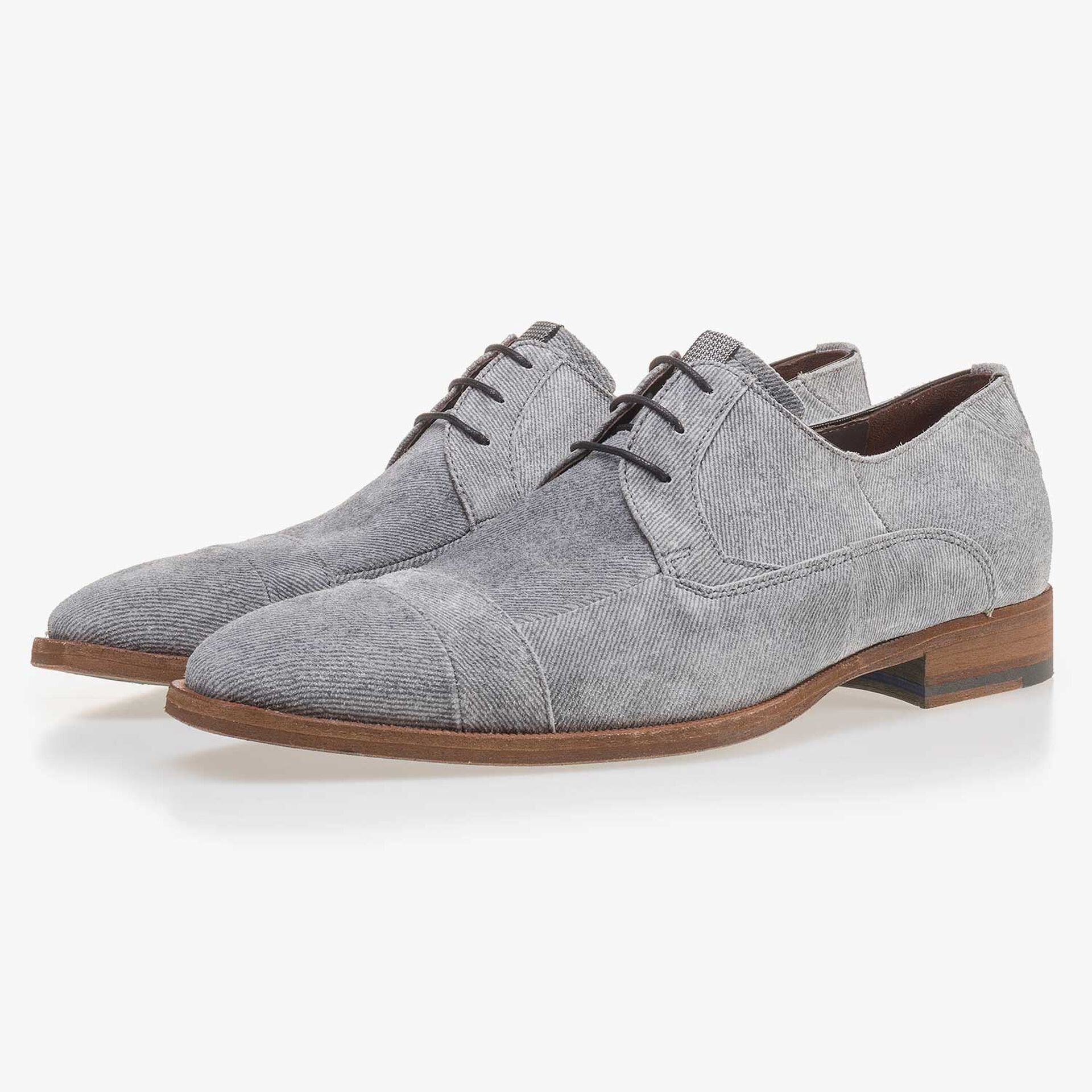 Grey suede leather lace shoe