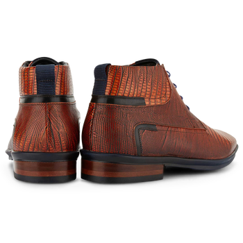 Lace boot printed leather cognac