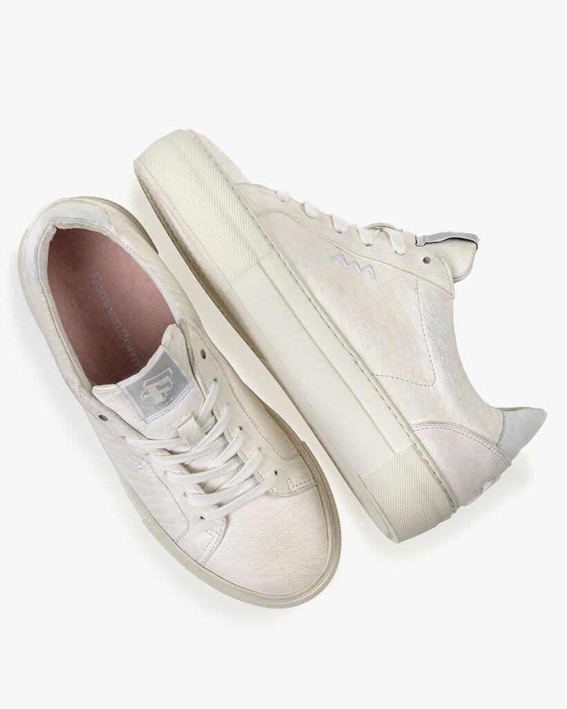 Sneaker Leder mit Print weiß