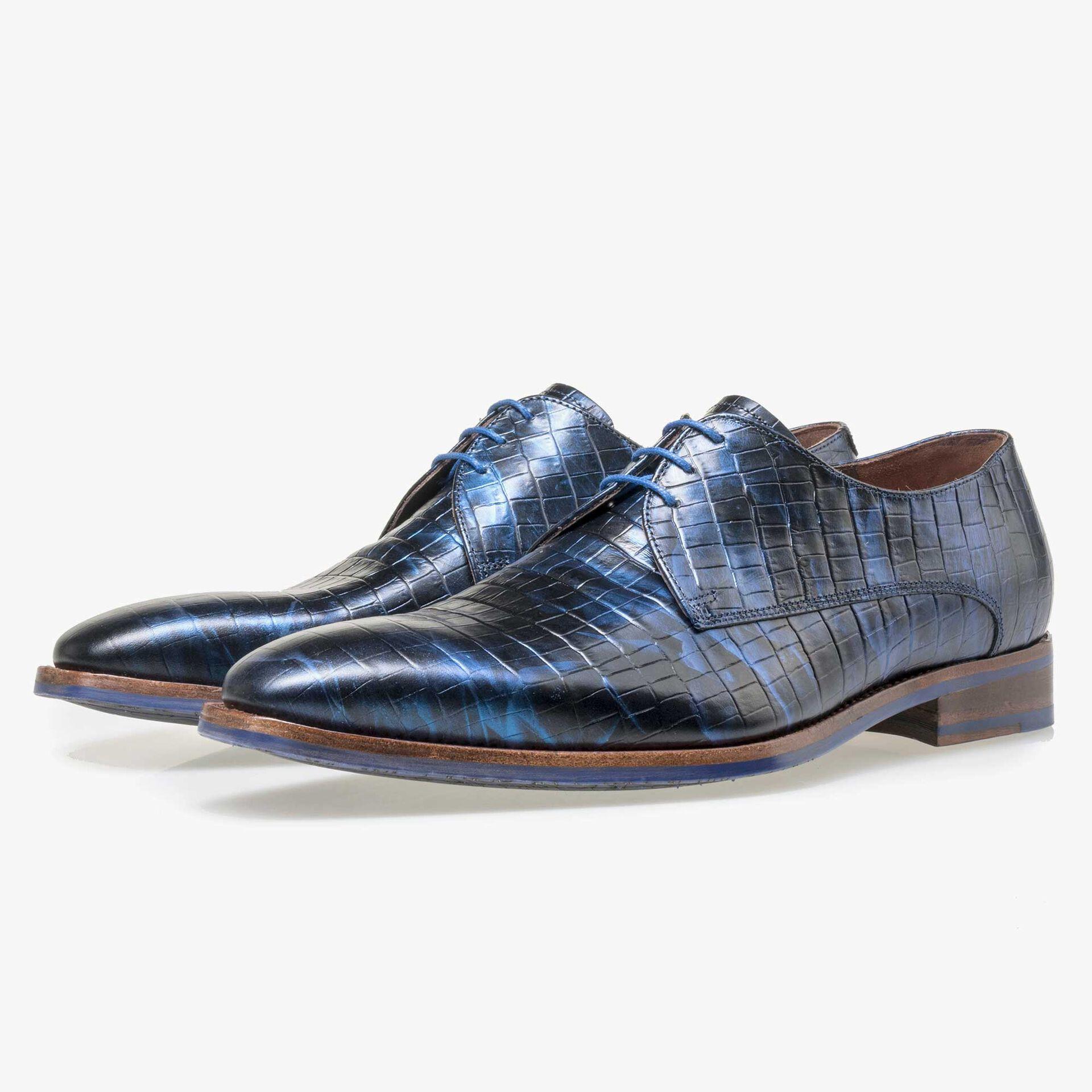 Floris van Bommel Premium men's blue leather lace shoes with a metallic look
