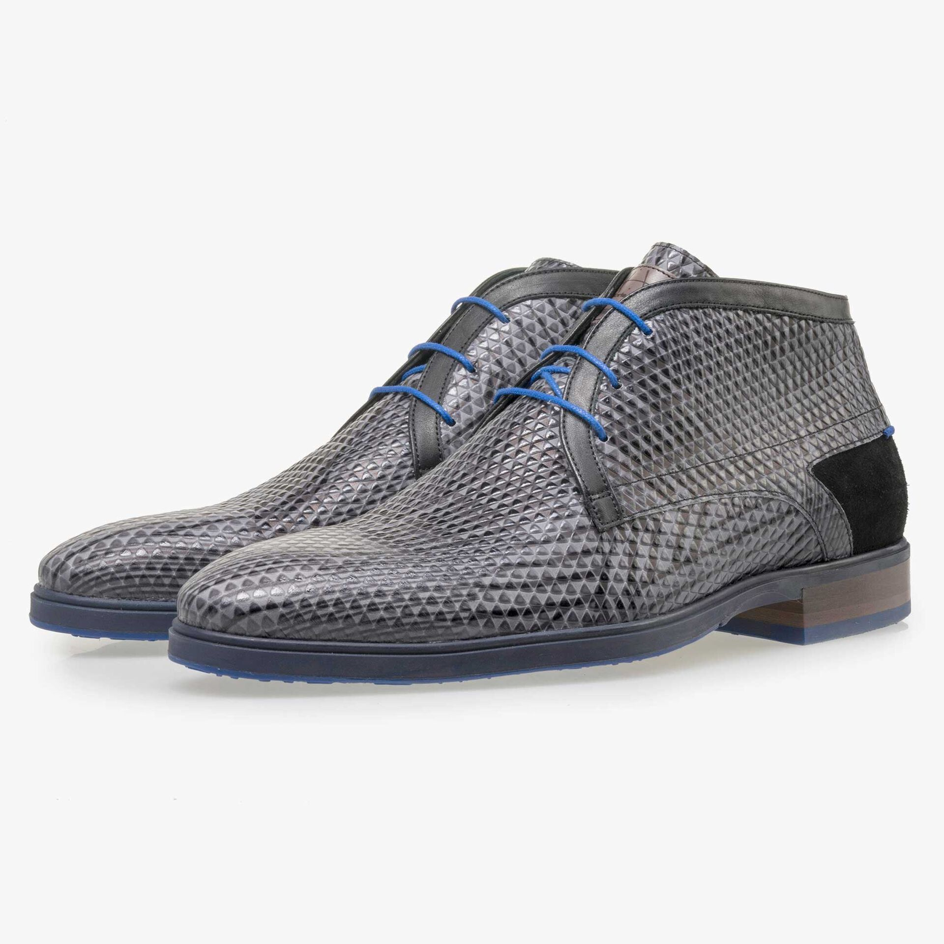 Floris van Bommel men's grey lace boot finished with a triangular pattern