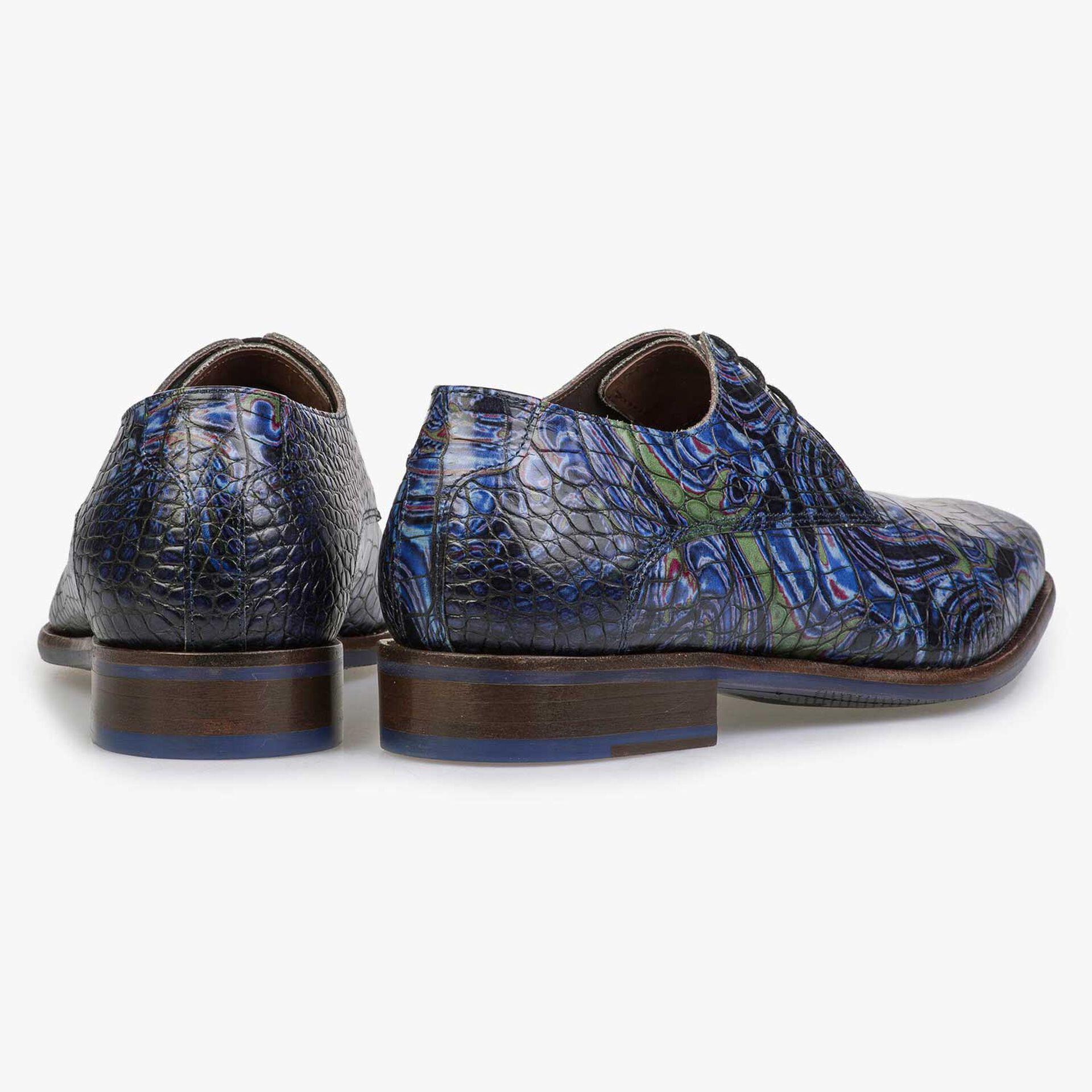Blauer Premium Leder Schnürschuh mit Krokoprint