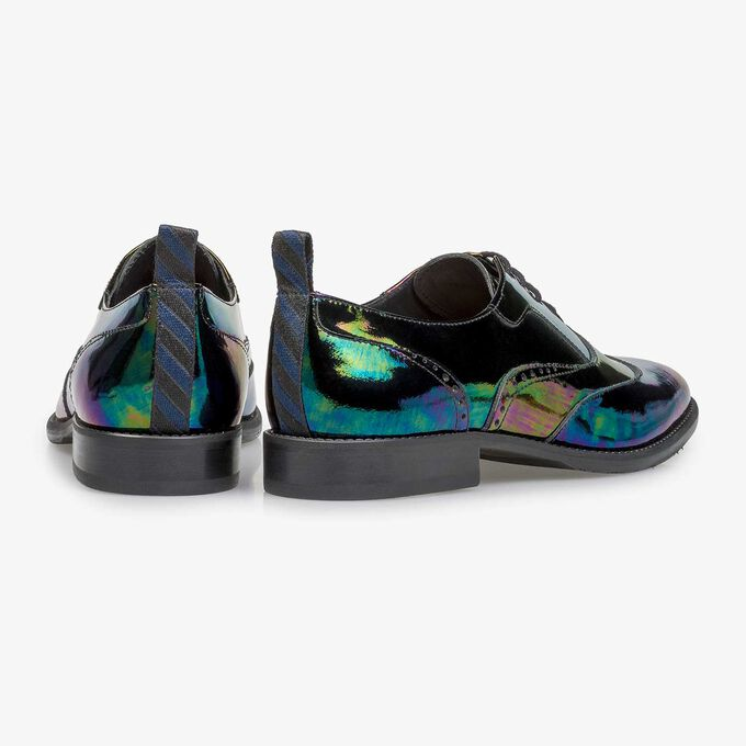 Multi-coloured patent leather lace shoe