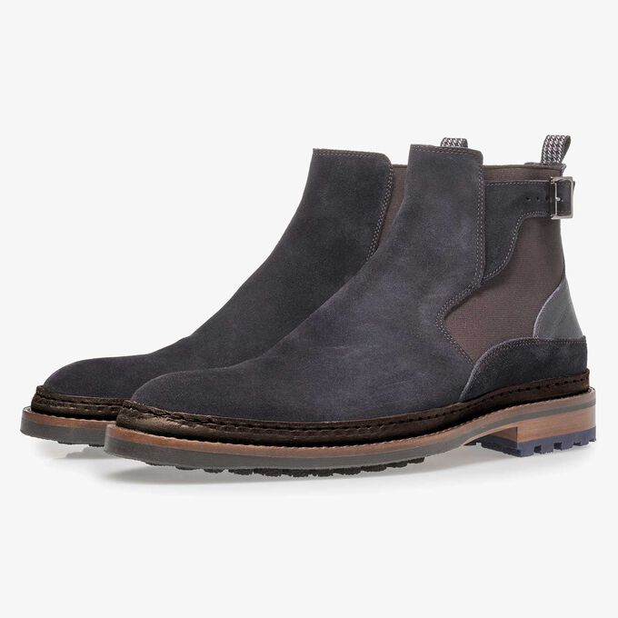 Dark blue suede Chelsea boot
