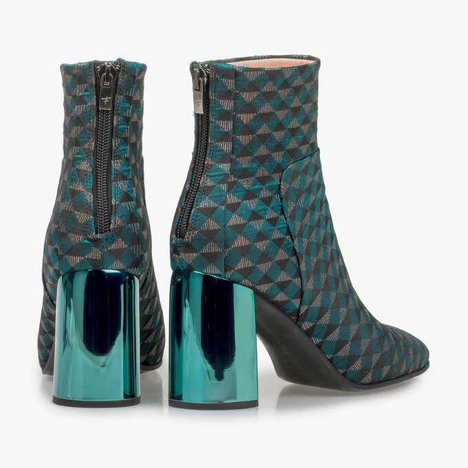 Green ankle boots with graphic print