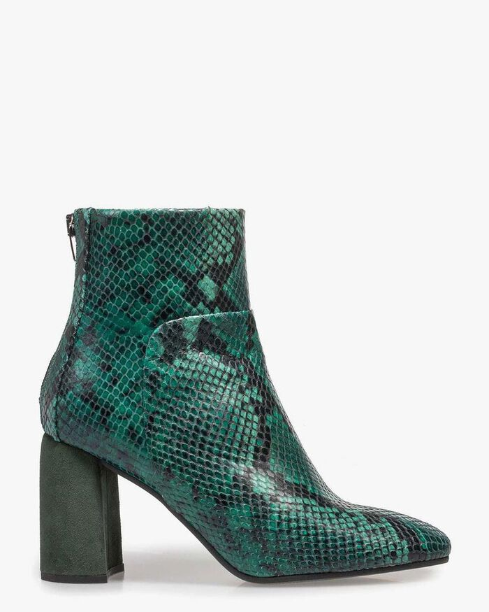 Green ankle boot snake print
