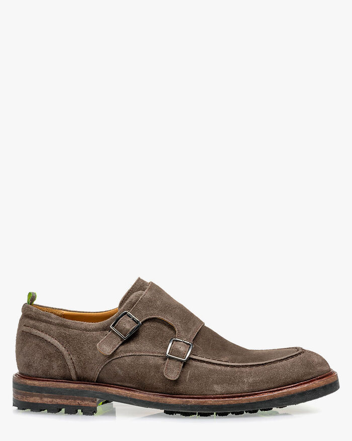 Monk strap suede taupe
