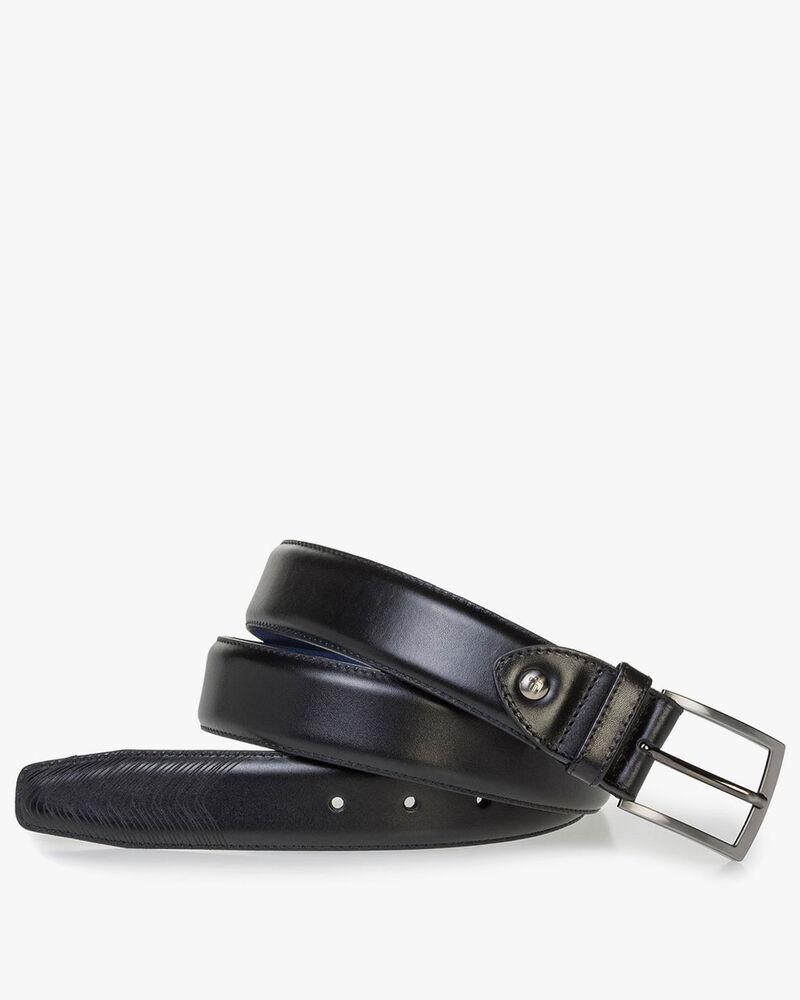 Black calf leather belt