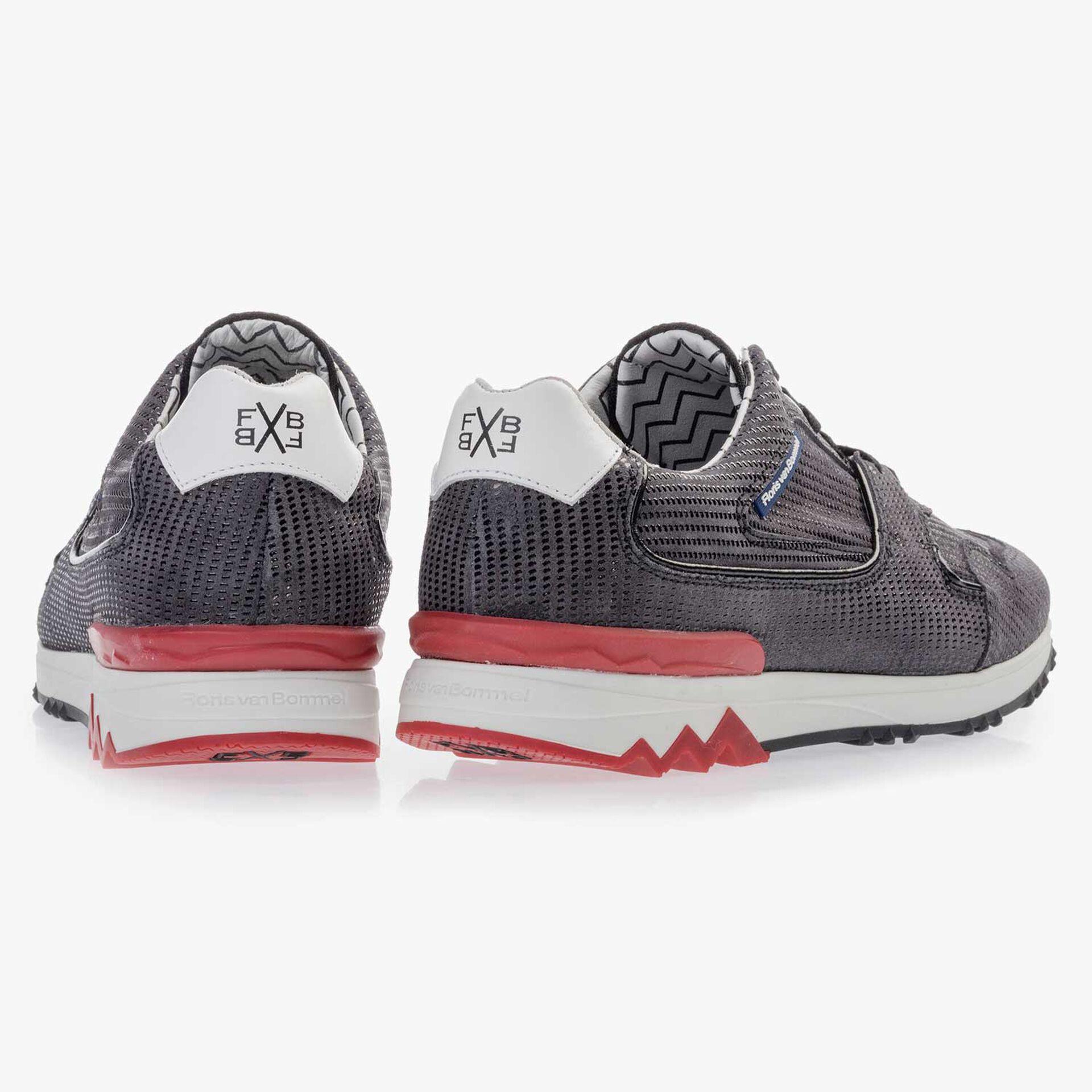 Dark grey, patterned leather sneaker