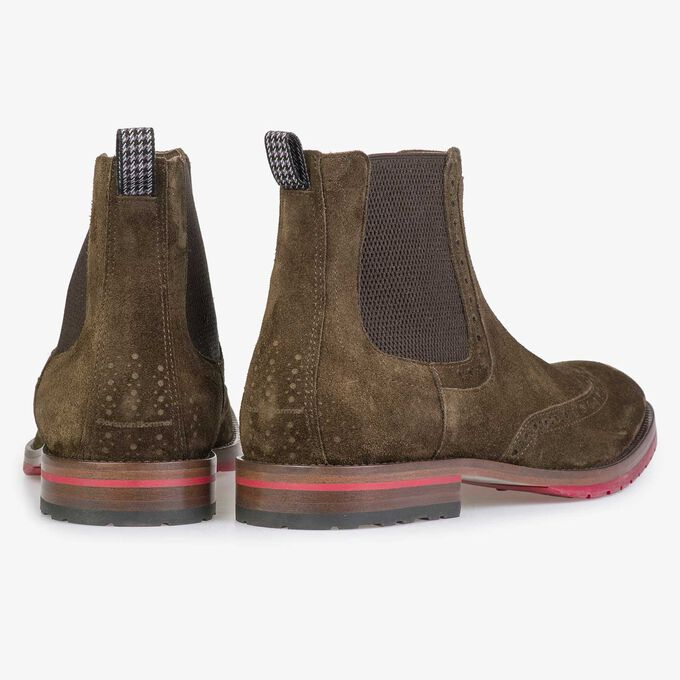 Brown/olive green calf suede leather Chelsea boot