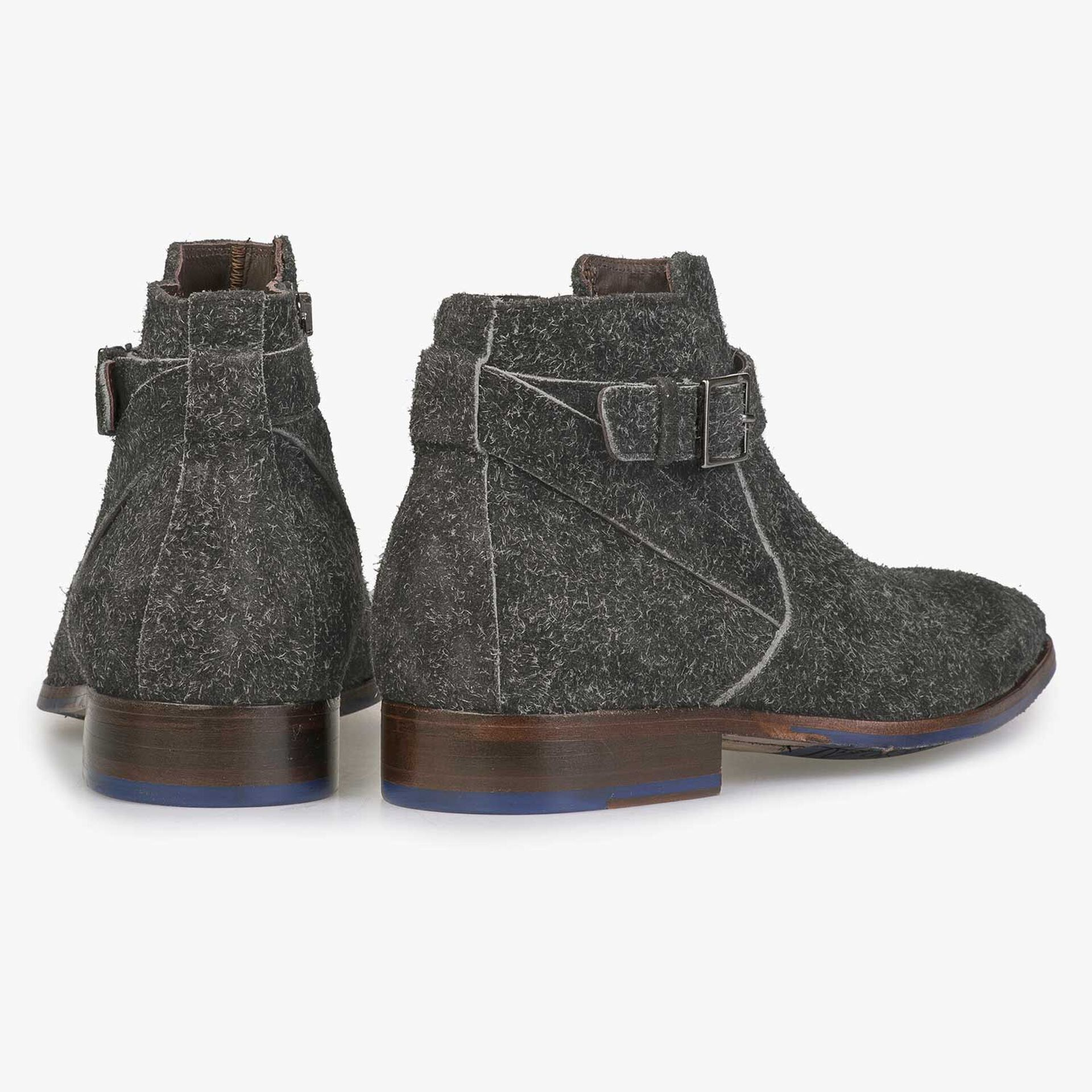 Grey rough suede leather ankle boot