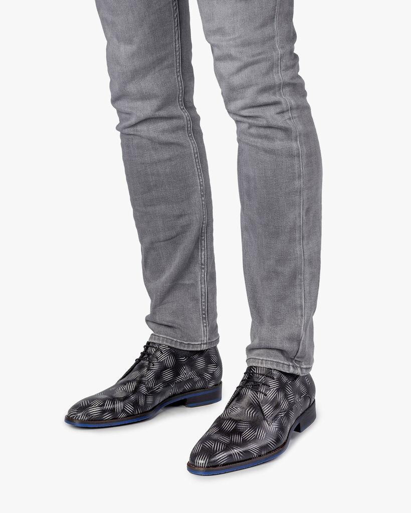 Schnürschuh Lackleder schwarz-weiß