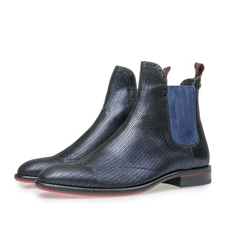 Leather Chelsea boot with metallic print