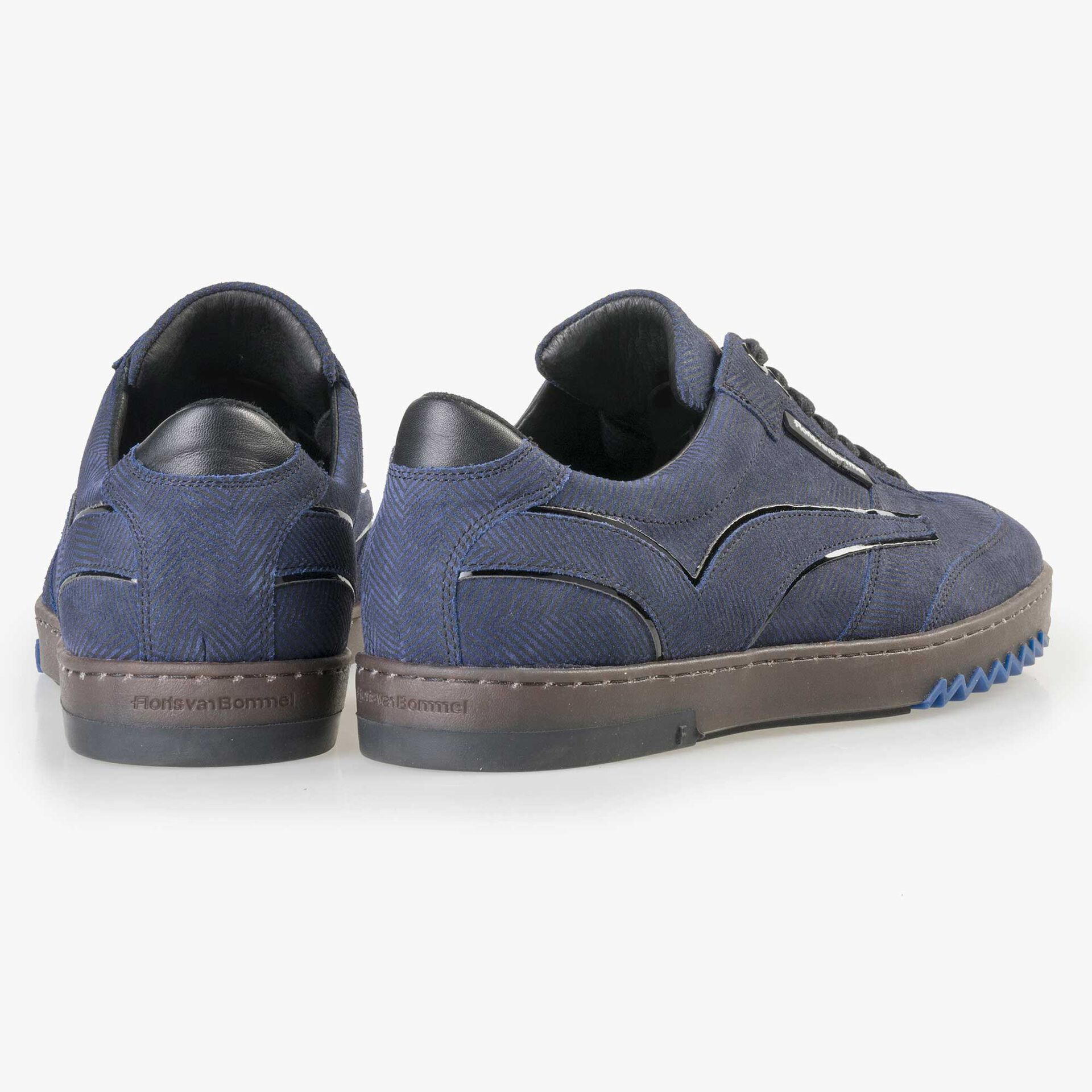 Floris van Bommel men's blue suede leather sneaker finished with a herringbone print