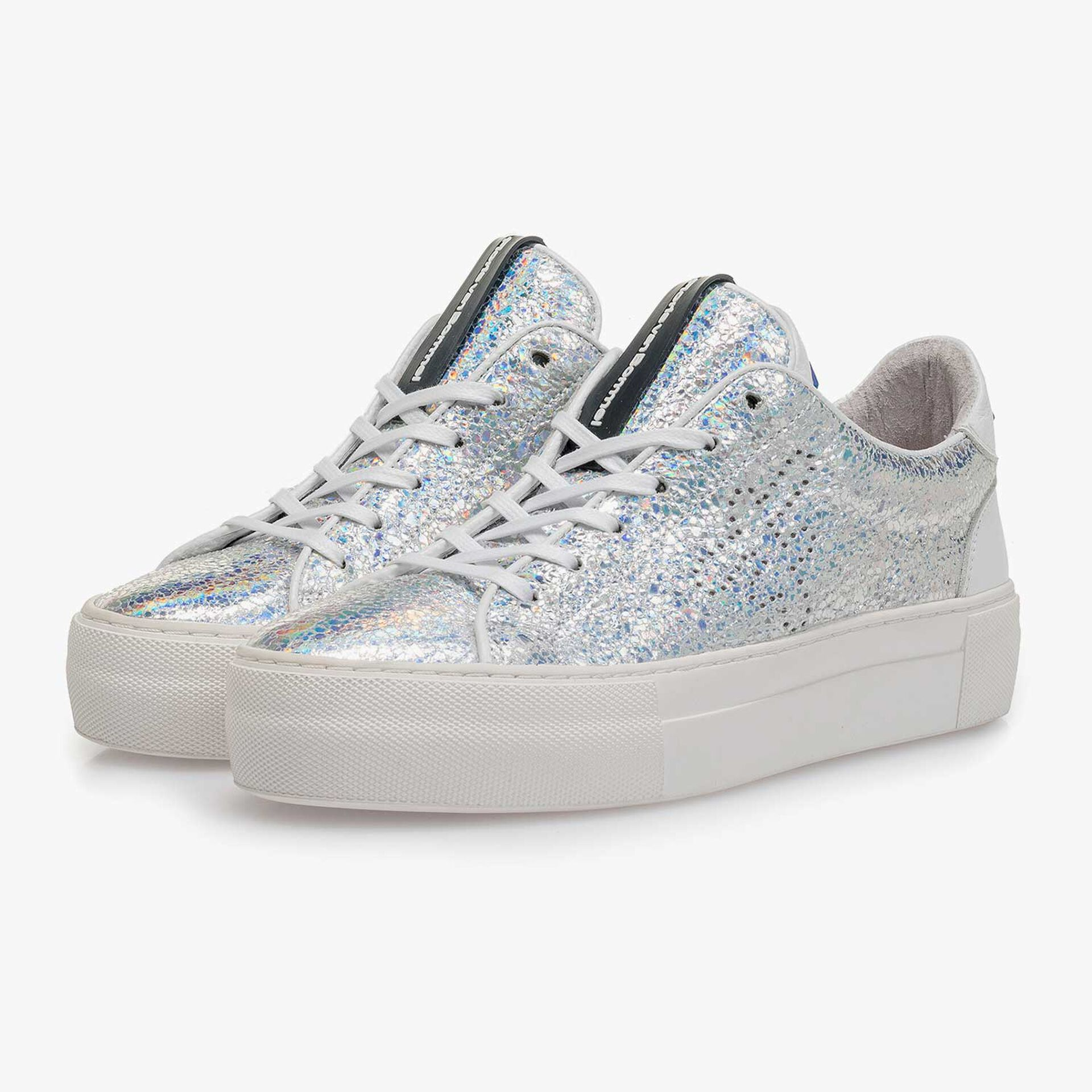 Silber Metallic Leder-Sneaker mit Craquelé-Effekt