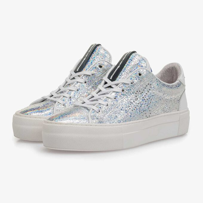 Silver metallic leather sneaker with craquelé effect