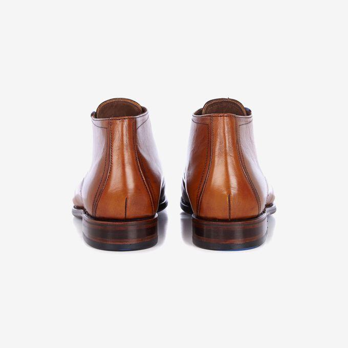 Cognacfarbener Leder Schnürstiefel