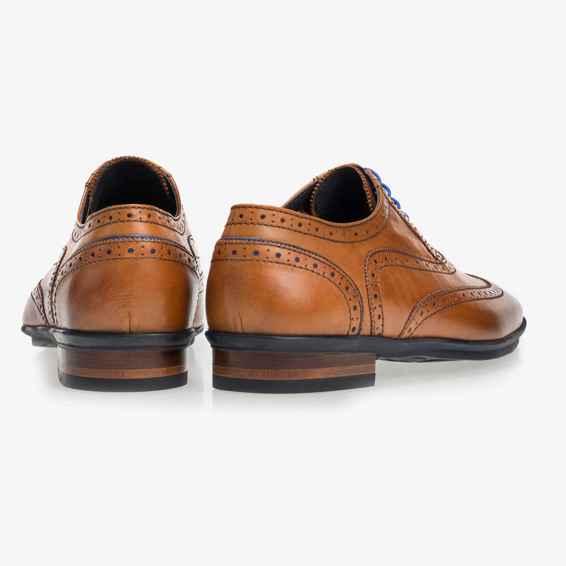 Cognac-coloured brogue leather lace shoe