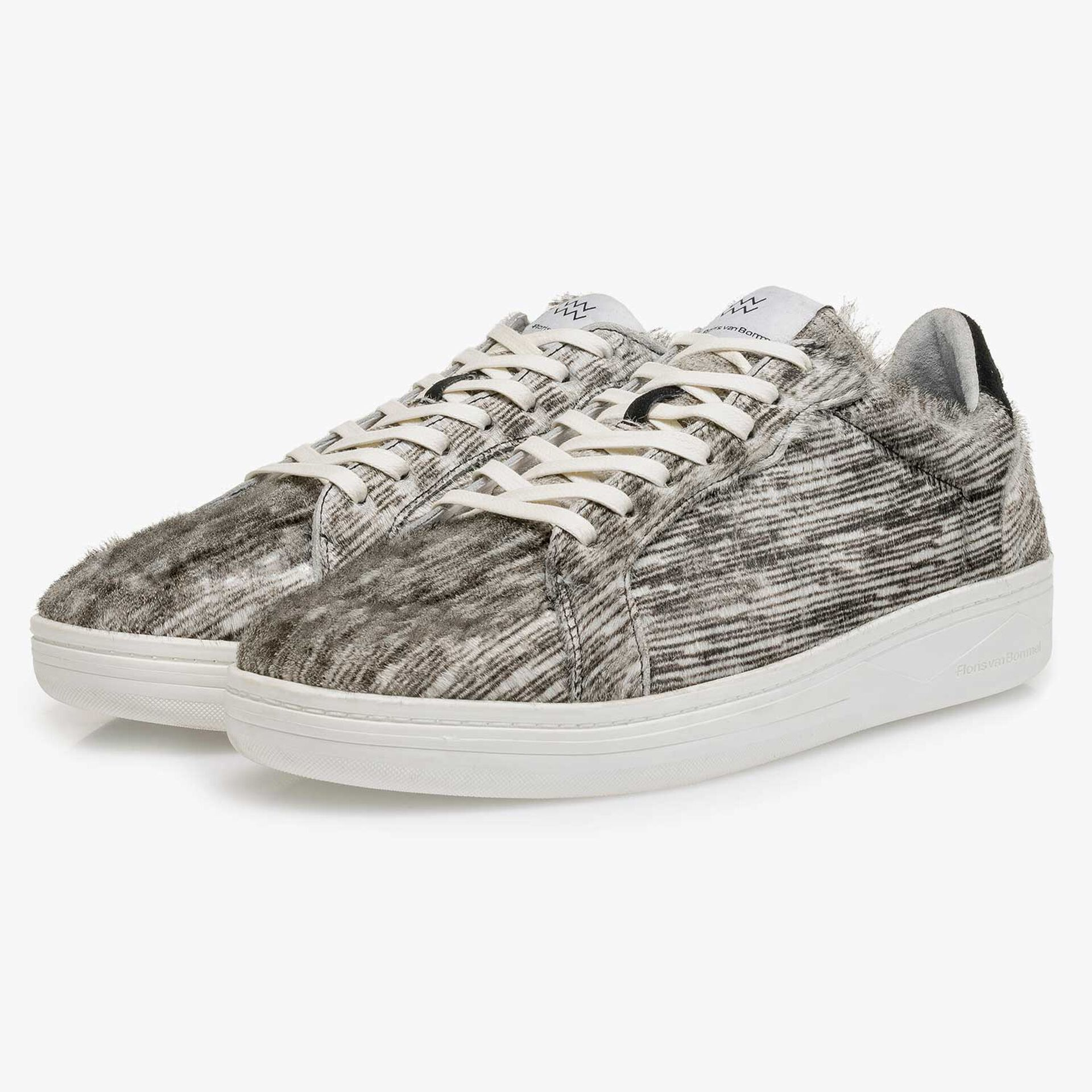 Premium off-white pony hair sneaker with striped pattern