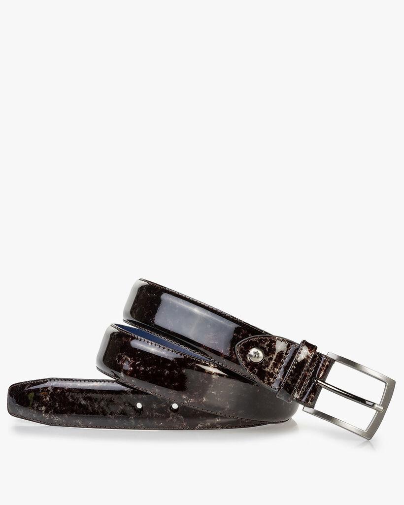 Belt grey patent leather