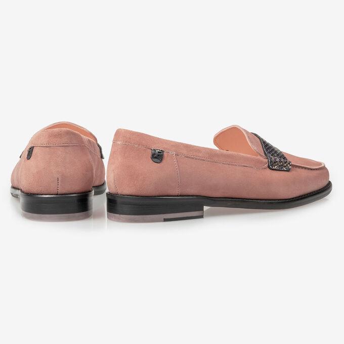 Rosa Wildleder-Loafer