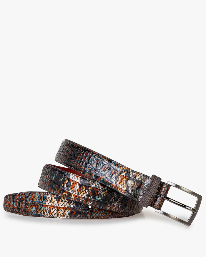 Belt printed leather cognac