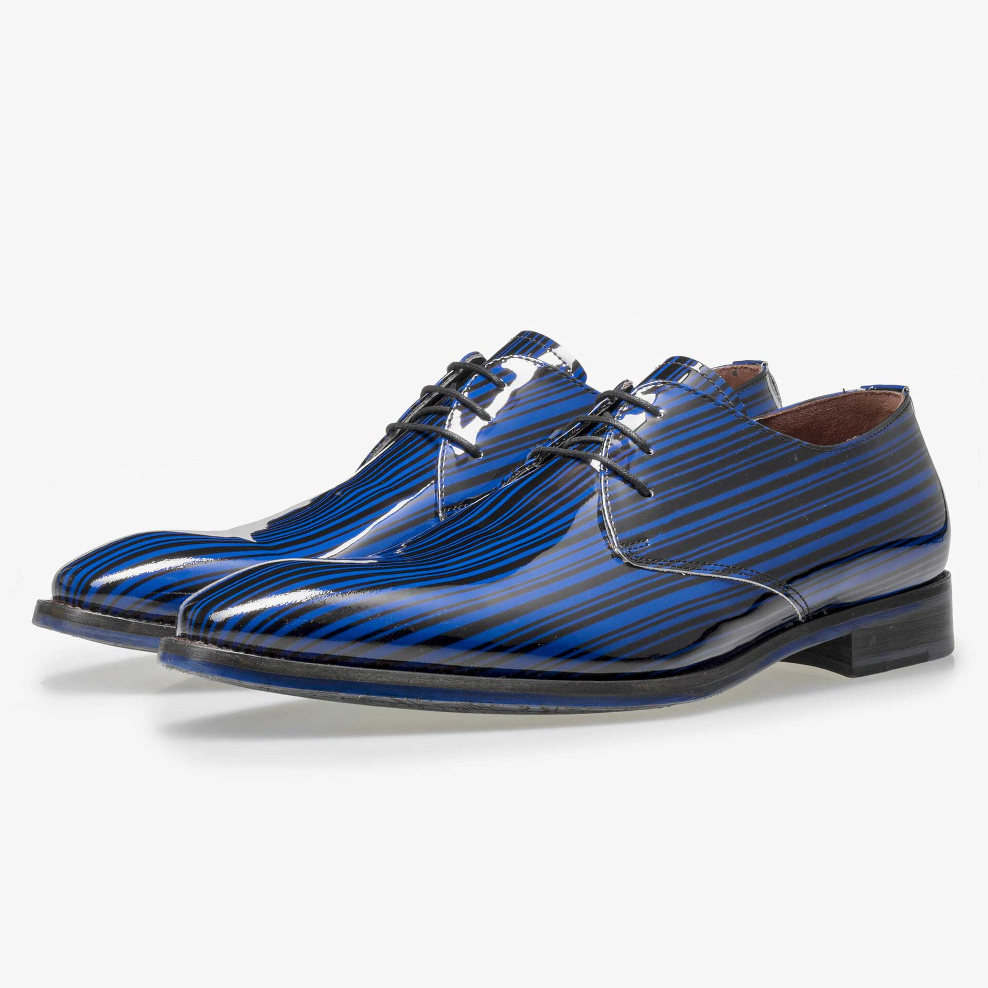 Floris van Bommel Premium men's cobalt blue patent leather lace shoe