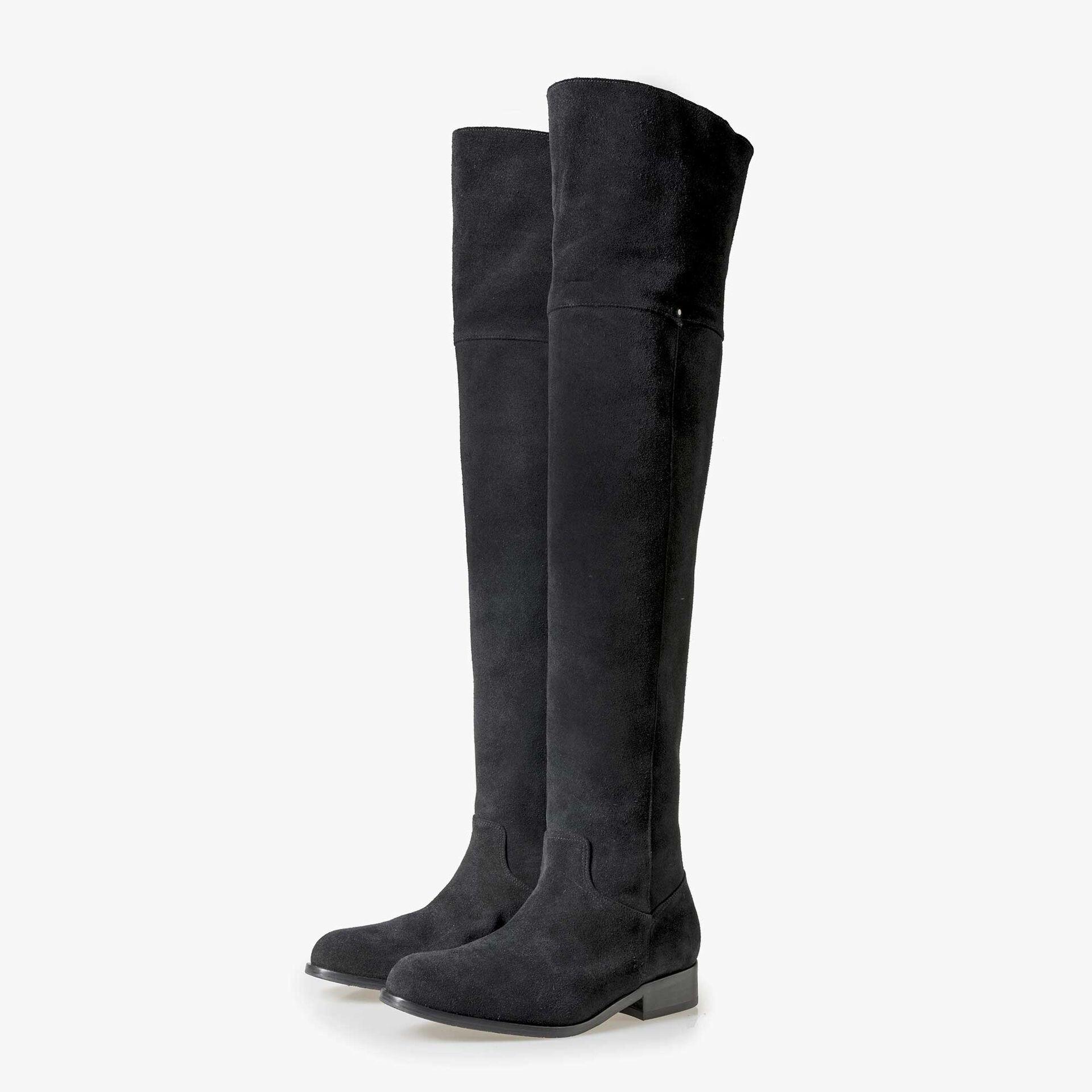 Floris van Bommel schwarze Damen Wildleder Overknee Stiefel