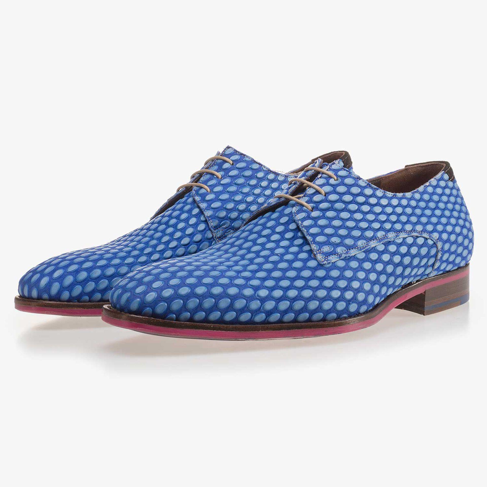 Premium cobalt blue leather lace shoe