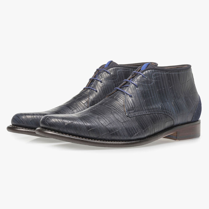 Blue leather lace boot with print