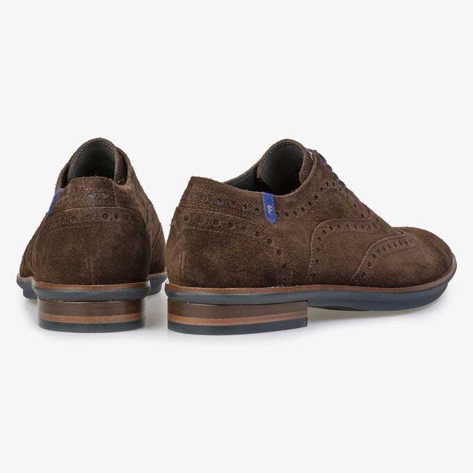 Brown brogue suede leather lace shoe