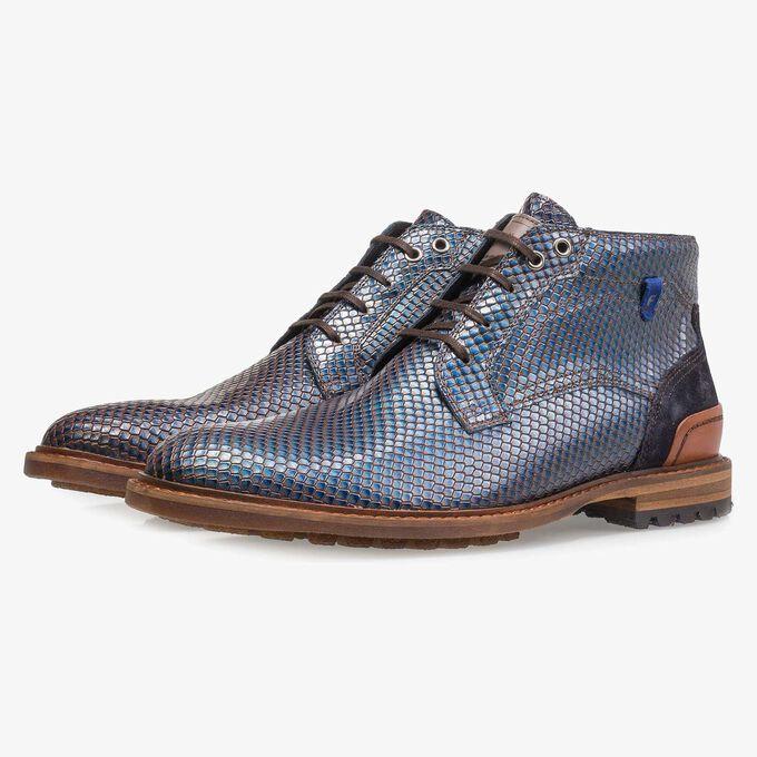 Blauer Premium Metallic-Leder Schnürstiefel mit Print