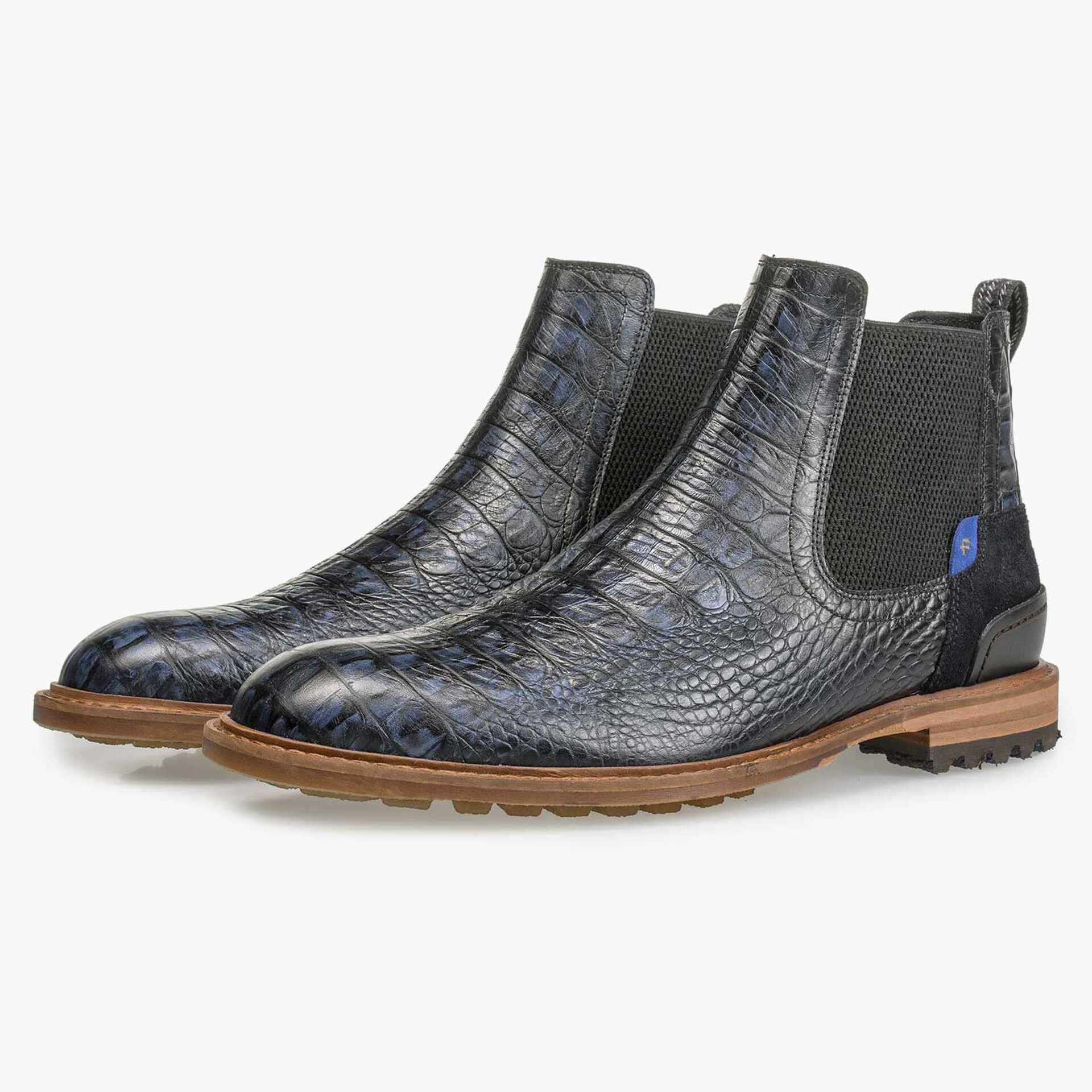 Blauer Leder Chelsea Boot mit Krokoprint