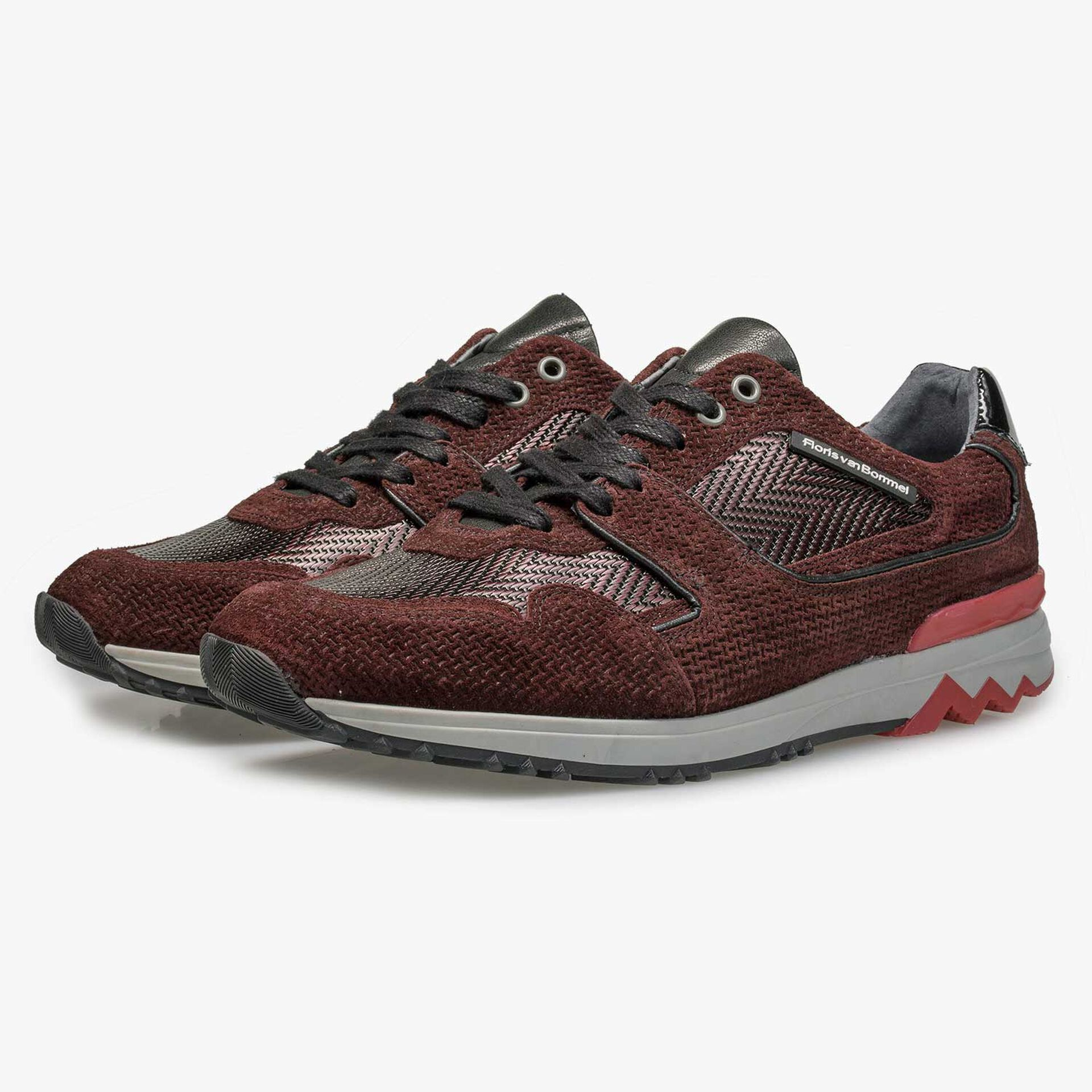 Burgundy red leather sneaker with metallic print
