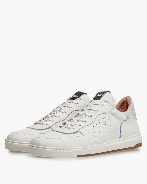 Weisser Leder-Sneaker mit Print