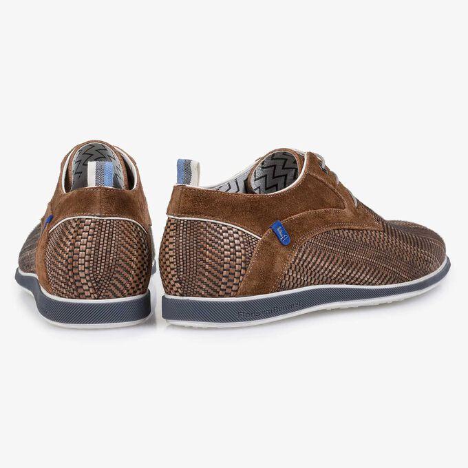 Cognac-coloured braided leather lace shoe