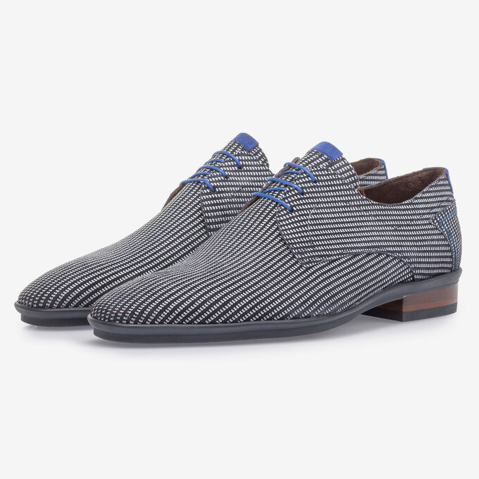 Blue suede leather lace shoe with white print