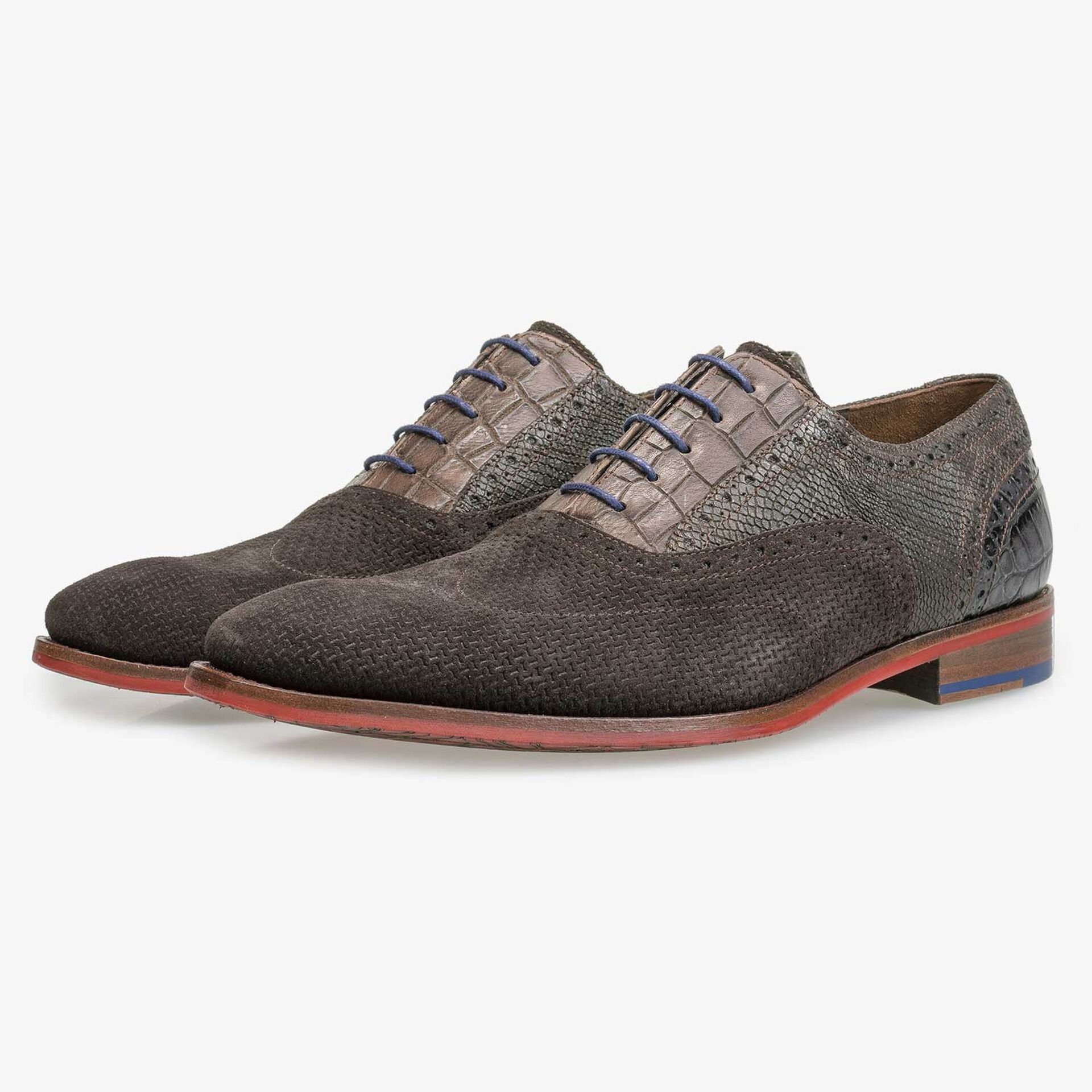 Brown suede leather brogue lace shoe